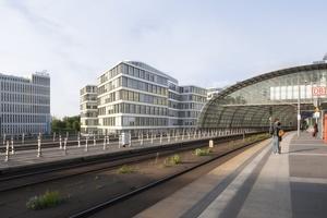 Das neungeschossige Multi-Tenant-Bürogebäude Grand Central Berlin hat das DGNB-Vor-Zertifikat in Platin erhalten.  (Visualisierung: OVG Real Estate)