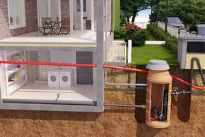 Zur Beseitigung häuslichen Abwassers außerhalb des Gebäudes bieten sich nass aufgestellte Pumpen an, diese können leicht gezogen werden.