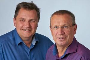 Die beiden WWO-Geschäftsführer Mario Filippelli (links) und Dirk Bethge freuen sich, ihr Wasser-Wissen an die Kunden weitergeben zu können. (Foto: Grünbeck)