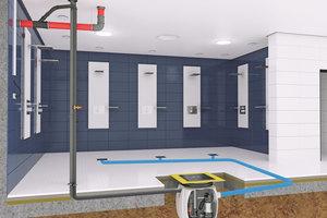 """Einbaubeispiel """"Baufix 200"""" für die Schmutzwasserentsorgung eines öffentlichen Duschbereichs"""