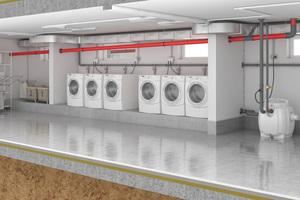"""Einbaubeispiel """"Hebefix 200"""" für die Schmutzwasserentsorgung einer Waschküche<br />"""