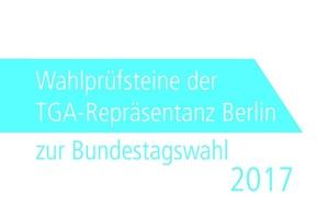 Das Deckblatt der Wahlprüfsteine der TGA-Repräsentanz Berlin zur Bundestagswahl 2017 (Bild: TGA-Repräsentanz Berlin)