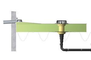 """<div class=""""Bildtext"""">Speier in Anstauhöhe in die Brüstung integriert: """"SitaAttikagullys"""" aus Edelstahl (mit Gefällestrecke) oder aus Polyurethan eignen sich für die Notentwässerung kleinerer Dachflächen. </div>"""