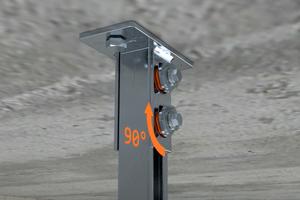 Vorfixierung durch Drehung des MPR-Verbindungsschlosses Typ S+ um 90°, auch bei senkrechten Montagen