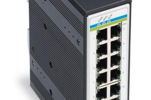 Der 16-Port-Industrial-Switch dient einer sicheren Vernetzung im Industrie- und Gebäudebereich.