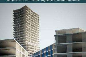 """Das Titelbild von Computer Spezial 2/2017 zeigt ein Rendering des Limmat Tower in Dietikon bei Zürich, der mit """"Allplan Engineering"""" komplett in 3D bewehrt wurde."""