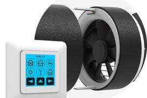"""Per einfachem Steckprinzip kann der getAir-Sensor-Stick für die Feuchte- und Temperaturmessung in die Lüfter-Einheit aller """"SmartFan""""-Geräte eingesetzt werden. Die Touch-Steuerung erkennt automatisch den Sensor und schaltet in den Automatik-Modus um."""