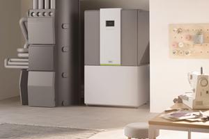 """Modulierende Luft-/Wasser-Wärmepumpe """"x-change dynamic"""" (rechts) in der Innenaufstellung mit """"x-buffer""""-Schichtenpufferspeicher (links)"""