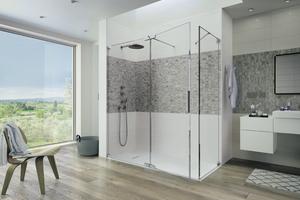 """... """"Kinequartz""""-Duschwand ist eine flexible und wirtschaftliche Lösung für die Badsanierung."""