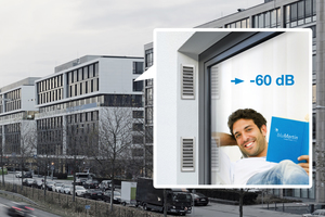 """Die optimierte Laibungslösung des """"freeAir""""-Lüftungssystems sorgt für eine fließende Fassadenoptik und erhöht in Kombination mit dem Premium Cover den Schalldämmwert der Lüftung auf 60 dB.<br />"""