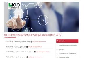 """Um die """"Zukunft der Gebäudeautomation"""" geht es in der ersten Fachforenreihe der tab im Jahr 2018."""