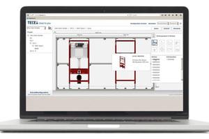 """Die Planung von Sanitärwänden geht mit der Anwendersoftware """"TECEsmartwall"""" leicht von der Hand.<br />"""