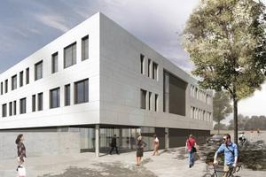 Eine helle Metallfassade wird die äußere Erscheinung des Neubaus prägen.
