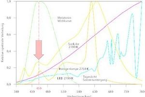"""<div class=""""Bildtitel"""">Kritischer Bereich bei ca. 450 nm: </div>Gegenüber dem Tageslicht bei Sonnenuntergang weisen warmweiße LED's mit einer Farbtemperatur von 2.700 K eine höhere biologische Wirksamkeit auf, da eine Emission von blauem Licht im Bereich von 450nm vorhanden. Das Spektrum von Halogenlampen gleicht sich dem Licht beim Sonnenuntergang näher an. [10, 11] <irfontsize style=""""font-size: 4.000000pt;""""> </irfontsize>"""