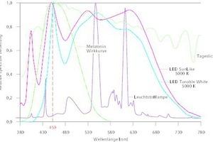 """<div class=""""Bildtitel"""">Die spektrale Zusammensetzung </div>einiger Lichtquellen, die für die Arbeitsplatzbeleuchtung im Innenraum zur Verfügung stehen. Die Nachbildung des Tageslichts mit künstlichen Lichtquellen ist schwierig, da einige spektrale Anteile im sichtbaren Bereich nur ungenügend vorhanden sind. Die biologische Wirksamkeit der jeweiligen Lichtquellen lässt sich anhand der Wirkkurve der Melatonin-Suppression erkennen. Bei allen hier dargestellten kaltweißen LED's liegt das Emissionsmaximum bei ca. 450 nm, somit haben sie eine hohe biologische Wirksamkeit. [10, 11]<irfontsize style=""""font-size: 4.000000pt;""""></irfontsize>"""