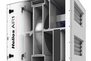 """Lüftungsgeräte der Serie """"Air1 RH"""" sind mit hocheffizientem Rotationswärmetauscher und serienmäßiger Spülkammer ausgestattet.<br />"""