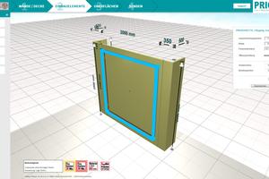 Entwurfsplanung mit Wandsystem und Revisionsöffnungsverschlüssen, Eingabe von Maßen Foto: Priorit