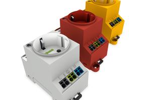 Die drei farben Steckdosen:grau (Standard), rot (USV) und gelb (dauerhaft Spannungsführend)