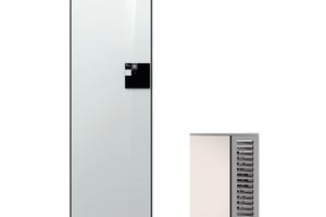 Die Außeneinheit ist mit 60 x 50 x 87 cm die kleinste auf dem Markt. Die Inneneinheit mit 60 x 60 cm Grundfläche benötigt wenig Platz .