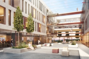"""Viel Wert wird bei dem Gebäude auf die Architektur und Innenarchitektur gelegt, welche den Aspekt """"New Work"""" fördern soll."""