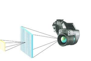 """<div class=""""Bildtitel"""">Das momentane Sichtfeld (IFOV) </div>ist eine Winkelprojektion von nur einem Pixel des Detektors auf dem IR-Bild. Der Bereich, den jeder Pixel erkennen kann, hängt von Ihrer Entfernung vom Zielobjekt mit einem bestimmten Objektiv ab."""