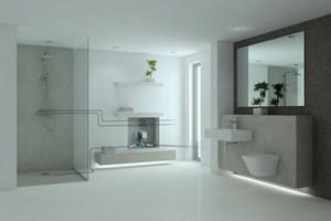 """Das """"Sanftläufer""""-System wird hinter einer Revisionsklappe in die Badezimmerwand eingebaut. <br />"""