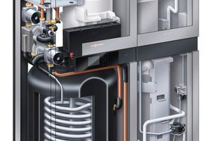 """Entstanden aus der Kooperation mit Panasonic – Schnittbild des Brennstoffzellen-Heizgeräts """"Vitovalor 300 P"""" mit PEM-Brennstoffzelle von Viessmann"""