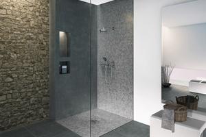 """Neben dem sehr guten Schallschutz und einer hohen Funktionalität zeichnen sich die """"Jackoboard Aqua""""-Duschelemente dadurch aus, dass sie direkt verfliesbar sind. Die Auswahl rutschhemmender Fliesen sorgt für zusätzliche Sicherheit im Duschbereich.<br />"""