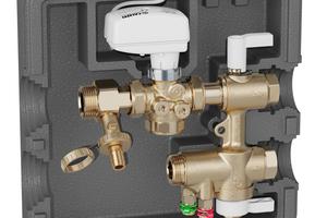 Vorgefertigte Regelarmatur mit drei Funktionen: Mit der Anschlussgruppe Serie 149 für Kälte- und Wärmesysteme kann die Anbindung von Gebläsekonvektoren, Kühlbalken oder Deckensysteme an das Hauptleitungssystem schnell und sicher hergestellt werden.<br />