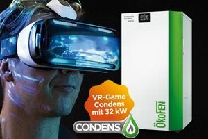 """Die Zukunfts-Version der """"Pellematic Condens"""" kann am Messestand nicht nur von außen, sondern per Virtual Reality Game auch von innen betrachtet werden."""