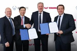 Peter Aarsen (Präsident Yanmar Europe BV)(v.l.n.r.), Tetsuya Yamamoto (CEO Yanmar Energy Systems Co. LTD), Oliver Eschenfelder (CEO KKU Gruppe) und Sven Schwarze (Geschäftsführer KKU Concept GmbH)
