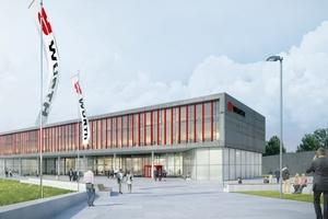 Rendering des im Bau befindlichen Innovationszentrum Würth in Künzelsau  Visualisierung: Obermeyer Planen und Beraten