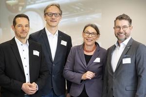 Die Referenten des Fachforums (v.l.n.r.): Dirk Dietz (Hewi), Marco Koch (Jung Pumpen), Ulrike Rau sowie Robert Schilling (Tece).