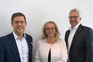 Marketing- und Vertriebsleitung (v.l.n.r.): Stefan Bollendorf, Andrea Heiner-Kruckas und Andreas Kregler   Foto: Conti Sanitärarmaturen GmbH/Conti+