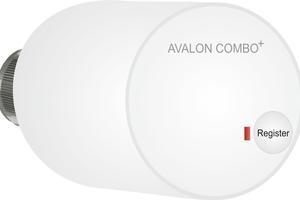 """Mit einem Funk-Heizkörperthermostat """"Avalon Combo+"""" können bis zu zehn Stellantriebe gesteuert werden. Touchpad-Thermostat mit beleuchtetem Display, Raumtemperaturanzeige, Bewegungssensor, Fensteröffnungserkennung für den digitalen dynamischen hydraulischen Abgleich."""