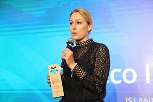 DGNB-Vorstand Dr. Christine Lemaitre bei der Verleihung des GGEF Eco Innovator Awards in Hongkong