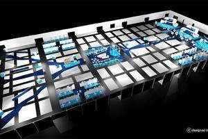 Die Hallenplanung erinnert an eine digitale Datenautobahn.