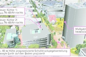 """<div class=""""Bildtitel"""">Schalltechnisches Rechenmodell </div>für das Obermeyer-Gebäude in München, eingebettet in seine Umgebung"""