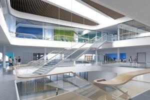 Zentrales Atrium des Global Demo Center von Siemens in Amberg