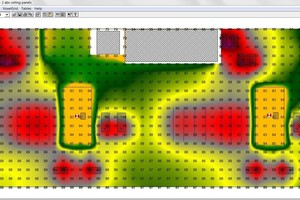 Isolinien- oder Isoflächengrafiken machen die Ergebnisse der Akustik-berechnung, wie Nachhallzeit oder Schalldruckpegel, besser ablesbar, wie hier die Schallpegelverteilung in einer Industriehalle.