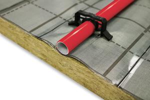 """""""Floorrock Heat"""" ist ein nichtbrennbares Verbundprodukt A2-s1, d0 und belastbar für Nutzlasten bis 5 kN/m² und Einzellasten bis 4 kN. Lieferbar sind Platten mit einer Dämmstoffdicke von 30 mm."""