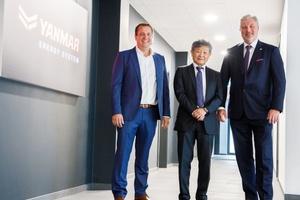 Das Führungsteam von Yanmar Energy System Europe (v.l.n.r.) Sven Schwarze, Geschäftsführer Vertrieb & Marketing, Yosuke Tajima, CEO, und Oliver Eschenfelder, CEO