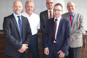 Wechsel an der Spitze des GMS-Vorstands (v.l.n.r.): Alexander Dehnelt ist neuer stellvertretender Vorstandsvorsitzender, während Christian Bruse zum neuen Vorstandsvorsitzenden gewählt wurde. Peter Diekmann und Jürgen Schütz wurden als Vorstände im Amt bestätigt. Hilbert Wann ist weiterhin GMS-Geschäftsführer.