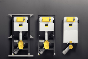 """Das """"Prevista Dry""""-WC-Element in Verbindung mit der """"Prevista Dry Plus""""-Montageschiene für die flexible Badgestaltung (links), das ebenfalls in der Höhe verstellbare WC-Element für die Einzelwandmontage oder für die Montage im bauseitigen Ständerwerk (Mitte) und der """"Prevista Pure""""-Block für den Nassbau (rechts)."""