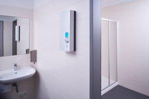 """Moderne elektronische Durchlauferhitzer wie der AEG-""""DDLE ÖKO ThermoDrive"""" sorgen für den sparsamen Umgang mit Wasser und Energie."""
