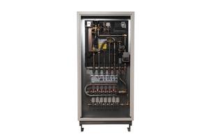 """Die """"x-net""""-Wohnungsstation kombiniert die Wärmeversorgung durch integrierten Fußbodenheizungsverteiler mit einer hygienischen Trinkwassererwärmung.  Durch die Modulbauweise und das innovative Steckverbindungssystem ist die Station einfach und schnell in der Montage.<br />"""