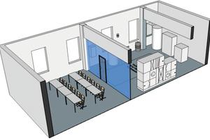 """Entwurf des neuen 80 m<sup>2</sup> großen Weiterbildungszentrums """"Servicemonteur BTGA"""""""