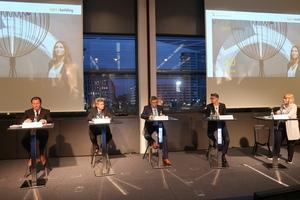 Beim Pressegespräch zur Light + Building 2020 diskutierten (v.l.n.r.) Wolfgang Marzin, Ingolf Jakobi, Dr. Jürgen Waldorf, Klaus Jung sowie Dominique Ewert über die Chancen und Herausforderungen von Vernetzung und Digitalisierung.