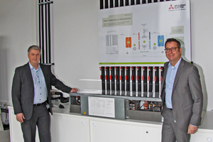 Michael Lechte, Manager Product Marketing, Living Environment Systems bei Mitsubishi Electric (links), und Dror Peled vor der HVRF-Anlage im Schulungszentrum von Mitsubishi Electric in Ratingen.