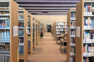 """<irspacing style=""""letter-spacing: -0.018em;"""">In der Bibliothek liegen die Zuluftleitungen sichtbar in der Betondecke. </irspacing>"""
